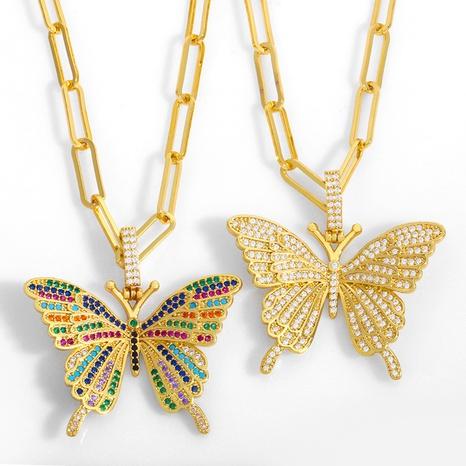 collar con colgante de mariposa de circonitas de colores NHAS312363's discount tags