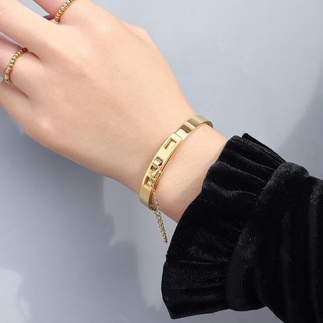 chain tassel titanium steel gold plated bracelet  NHOK312371's discount tags