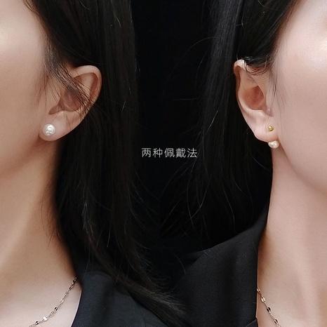 collar de pendientes de perlas de acero inoxidable NHOK312369