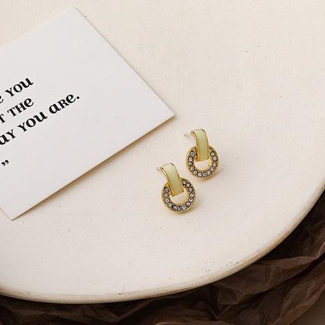 Korean small rhinestone arc earrings  NHMS312400's discount tags