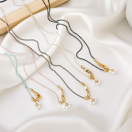 Korean crystal pearl flower necklace NHMS312402's discount tags