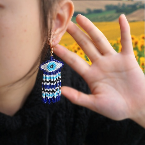 Simple Turkish blue eyes fashion beaded earrings NHGW312410's discount tags