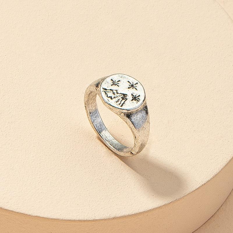 fashion metal mountain star texture retro ring NHGU312453