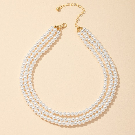 fashion three-layer pearl necklace  NHGU312460's discount tags
