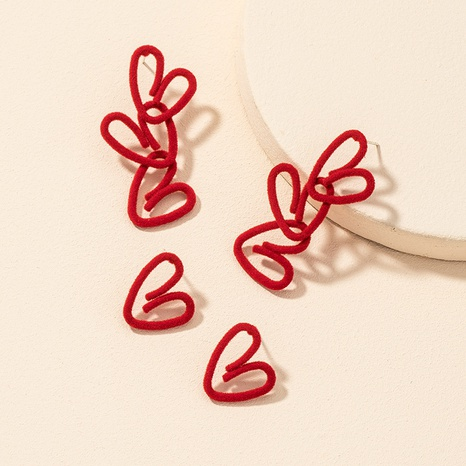 red flocking heart earrings 2 pairs set  NHGU312472's discount tags