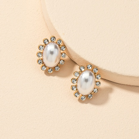 diamond-studded pearl retro earrings  NHGU312476's discount tags