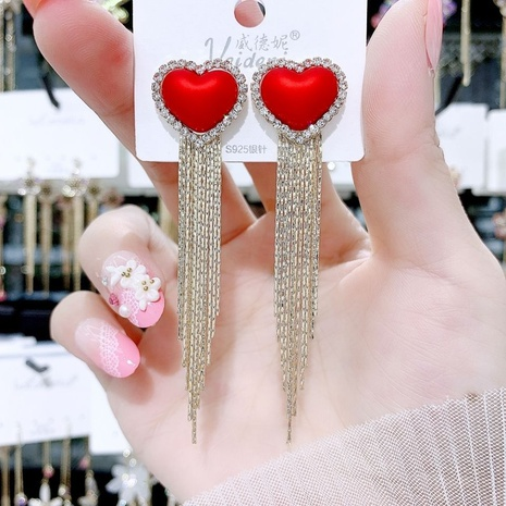 Korean heart diamond pearl earrings NHXI312497's discount tags