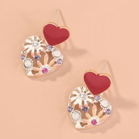 fashion retro flower diamond heart earrings NHAN312515's discount tags