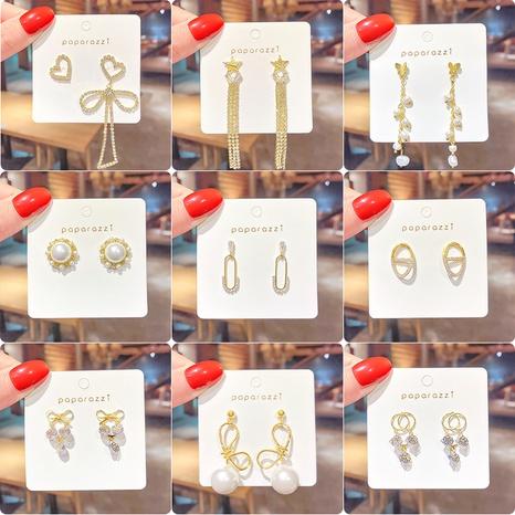 Korean geometric pearl diamond earrings NHNA312517's discount tags
