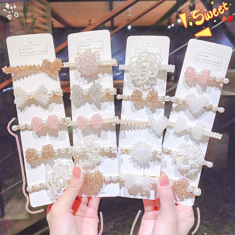 new fashion pearl bow side clip NHNA312518's discount tags