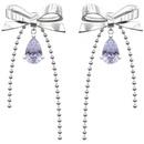 gem bow 925 sterling silver stud earrings  NHYQ312540