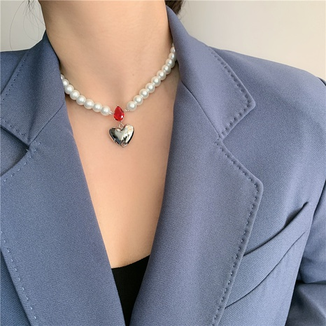 collier simple coeur perle NHYQ312542's discount tags