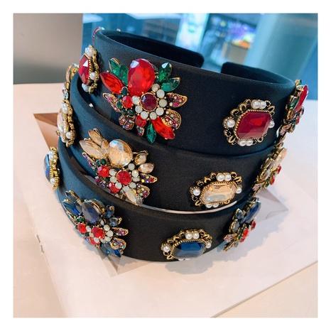 rhinestones retro flowers diamond headband NHHD312548's discount tags