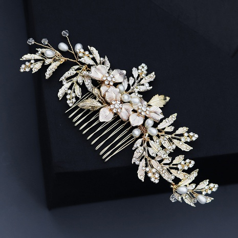 simple new pearl flower leaf hair clip NHHS312549's discount tags