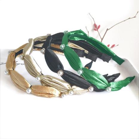 Satin feiner Rand Perlen Strass Stirnband NHAQ312581's discount tags