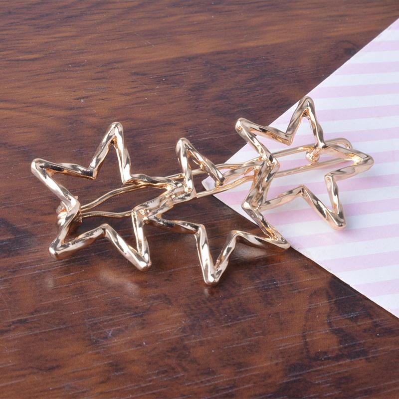 Korea simple five pointed star hollow hair clip NHAQ312583