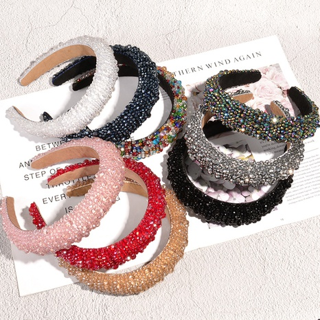 diadema de ala ancha con esponja de cristal barroco NHAQ312595's discount tags