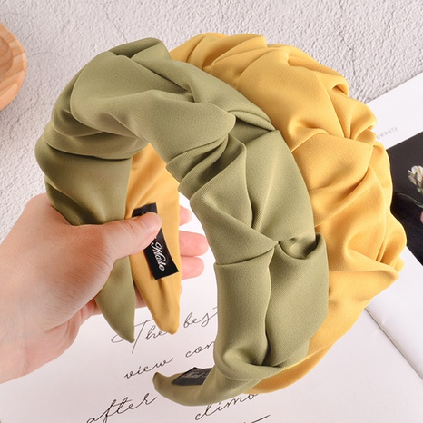 fabric pleated solid color headband  NHAQ312596's discount tags