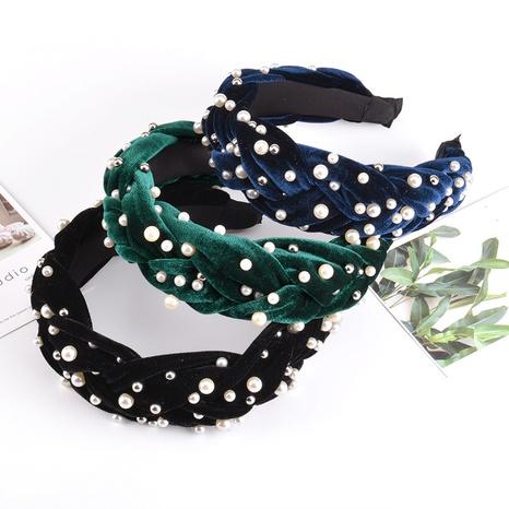 diadema de terciopelo de moda trenzada con torsión de perlas NHAQ312606's discount tags