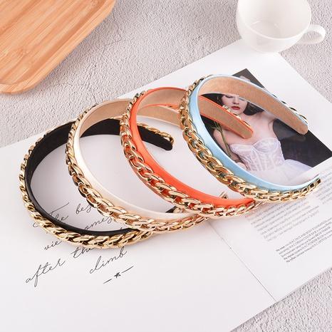Mode breitkrempige Metallkette Satin Stirnband NHAQ312608's discount tags