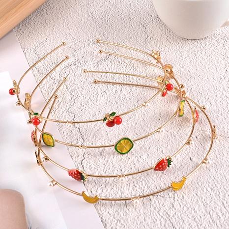 diadema de perlas de metal con frutas NHAQ312611's discount tags