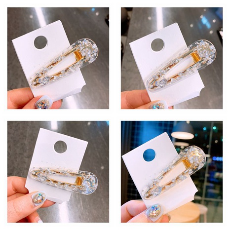 nouvelle pince à cheveux en cristal transparent simple NHHD312640's discount tags