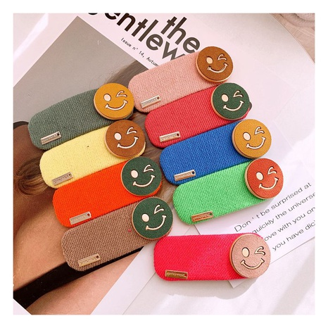 Clip latéral de dessin animé de smiley de velours en cuir tricoté de Corée NHHD312646's discount tags