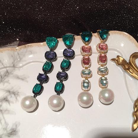 Grüne Diamant-Farbverlauf lange Ohrringe NHWK312657's discount tags
