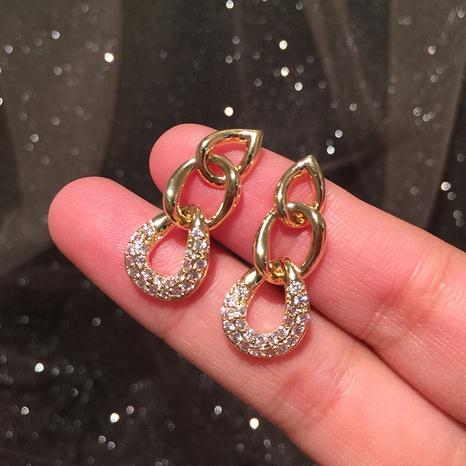 Metal chain S925 silver needle earrings NHWK312667's discount tags
