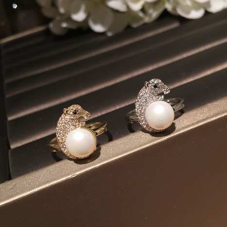 Pearl leopard head opening adjustable ring NHWK312668's discount tags