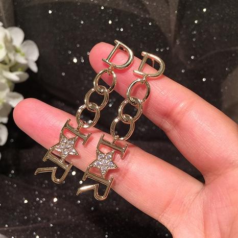 Metal chain letter long earrings NHWK312671's discount tags