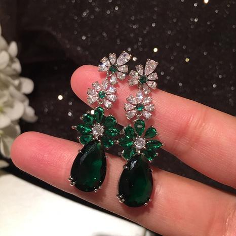 retro emerald drop long tassel earrings NHWK312681's discount tags