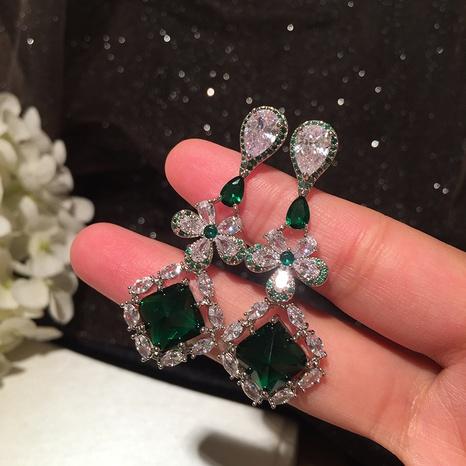 Emerald Flower Retro Drop Earrings NHWK312688's discount tags