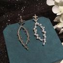 Pearl star long earrings NHWK312699