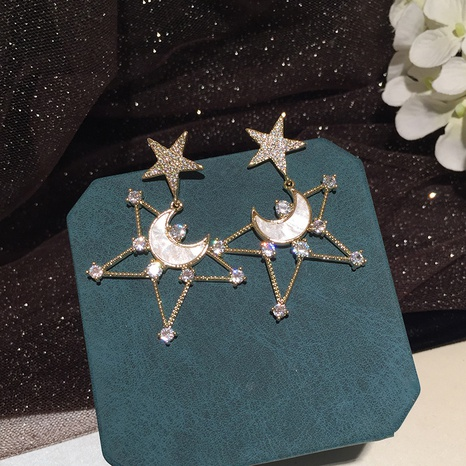 Hollow star moon S925 silver needle earrings NHWK312707's discount tags