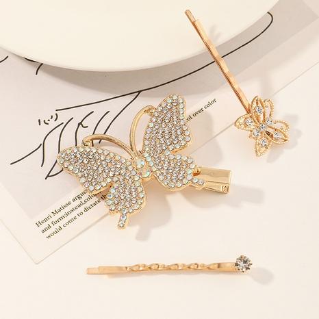 Korean simple flower rhinestone butterfly hair clip NHAU312714's discount tags