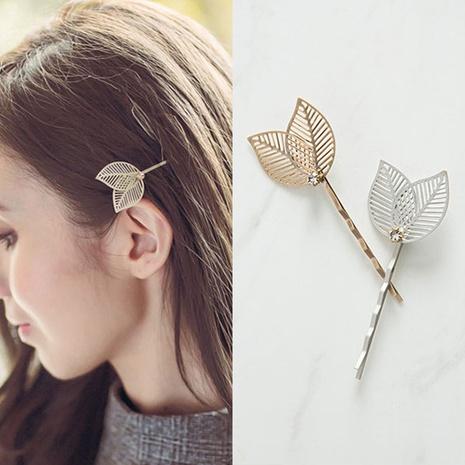 Épingle à cheveux coréenne simple en métal creux double feuille d'arbre NHDQ312735's discount tags