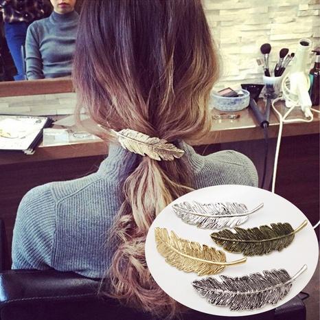 Épingle à cheveux en plumes métalliques exagérées rétro NHDQ312747's discount tags