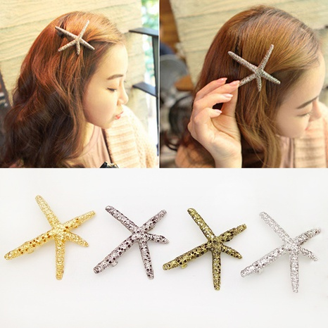 épingle à cheveux étoile de mer rétro en métal NHDQ312772's discount tags