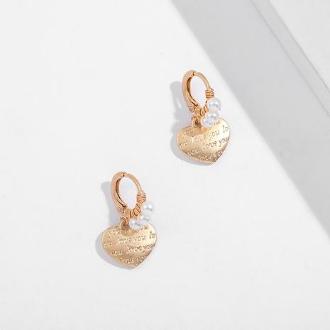 Simple wild metal love earrings NHLL312816's discount tags
