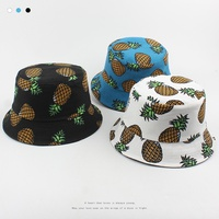 Double-sided pineapple print fashion fisherman hat NHXO312842