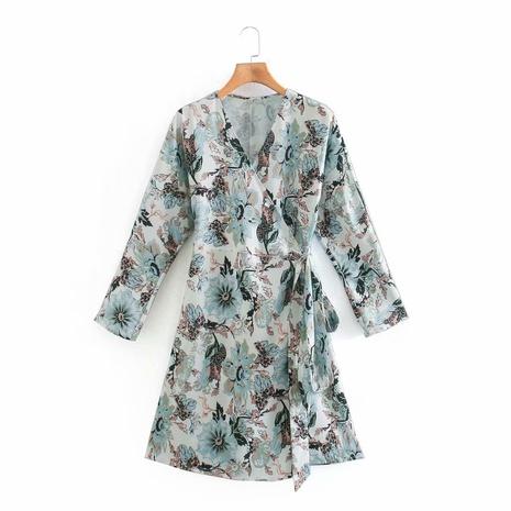 robe à nouer à col en V à impression numérique NHAM312847's discount tags