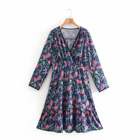 Mode Tulpe Bedrucktes V-Ausschnitt Langarm Kurzes Kleid NHAM312849's discount tags