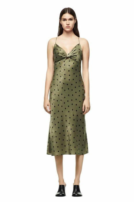 new simple wave-dot V-neck suspender dress NHAM312852's discount tags