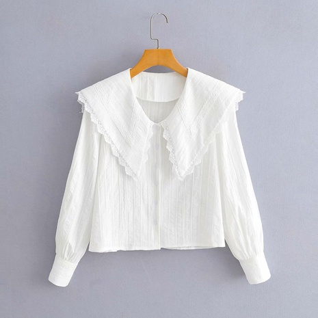 lace stitching lapel loose long-sleeved shirt NHAM312858's discount tags