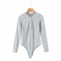 new round neck multi-button long-sleeved one-piece top  NHAM312870