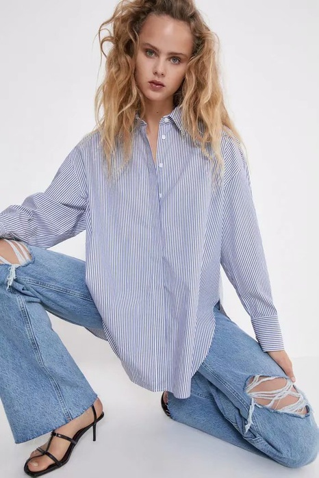 spring loose striped blouse NHAM312871's discount tags