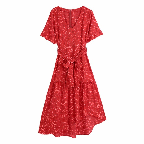 robe longue simple à pois rouge NHAM312879's discount tags