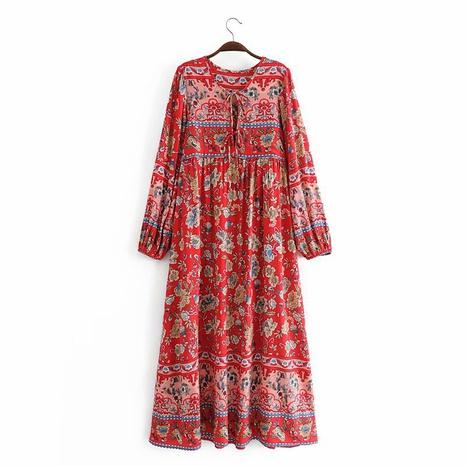einfaches Rayon Quaste Langarm langes Kleid NHAM312887's discount tags