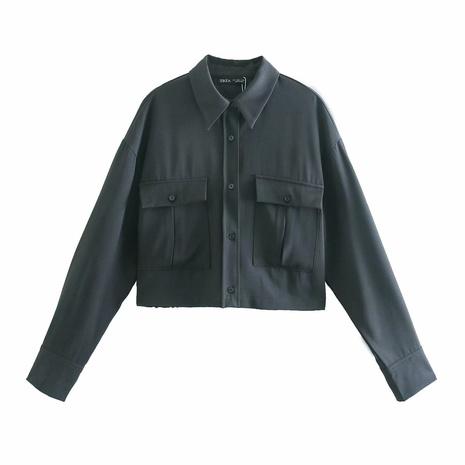lockeres schwarzes Hemd mit Doppeltasche NHAM312891's discount tags